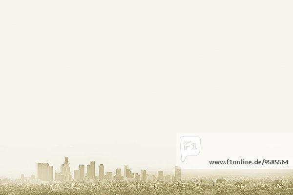 Skyline Skylines Vereinigte Staaten von Amerika USA Silhouette Himmel Großstadt Nebel Kalifornien Los Angeles