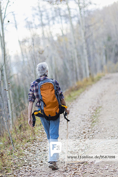 Caucasian hiker walking on dirt path in forest