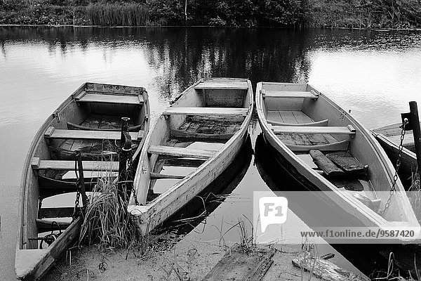 Empty wooden canoes on river