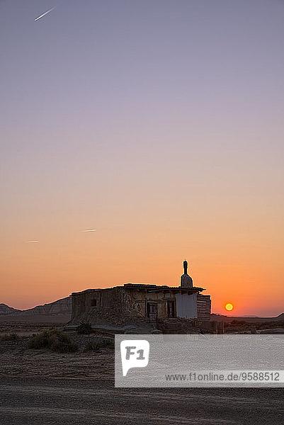 Spain  Navarra  Bardenas Reales  Semi-desert natural region  Nature Park  Refuge at sunset