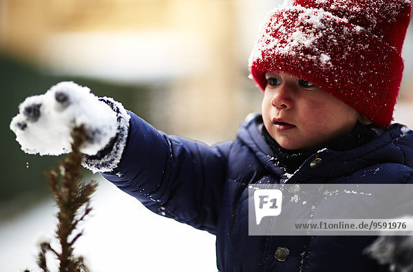 Nahaufnahme der männlichen Kleinkindberühranlage mit schneebedecktem Handschuh