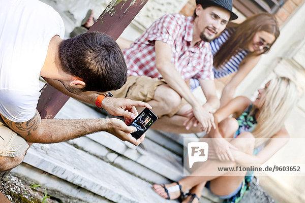 Mann, Freundschaft, Fotografie, nehmen, jung, Smartphone