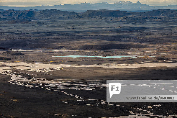 Landschaftlich schön landschaftlich reizvoll Berg Eis Flußbett Island
