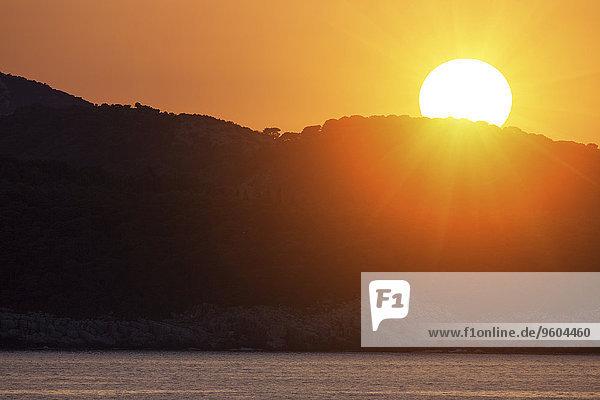 Sonnenuntergang über Insel Kroatien Dalmatien Hvar
