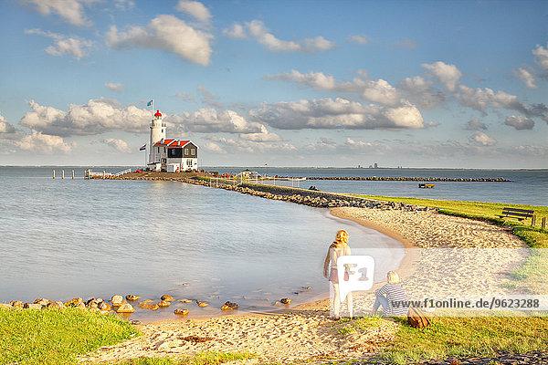 Netherlands  Waterland  Marken  Ijsselmeer  lighthouse Paard van Marken