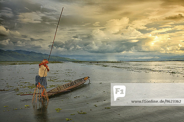 Myanmar  fisherman on Inle Lake