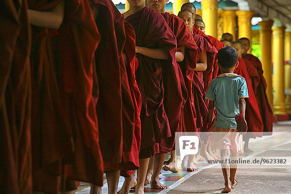 Myanmar  Bago City  Buddhist monks walking