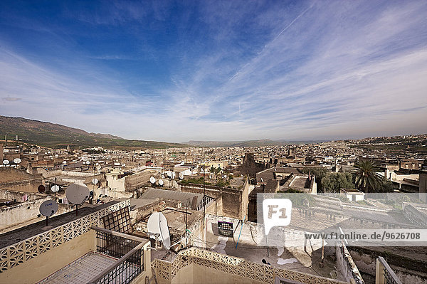 Marokko  Fes  Blick über die Medina vom Hotel Riad Fes aus