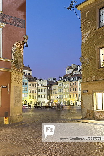 Polen  Warschau  Altstadt  Marktplatz am Abend