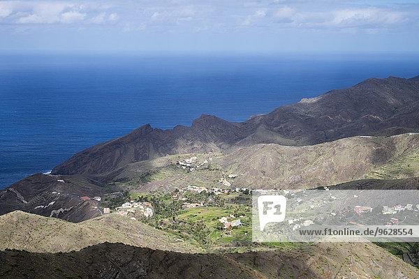 Spanien  Kanarische Inseln  La Gomera  Vallehermoso  Blick auf Alojera