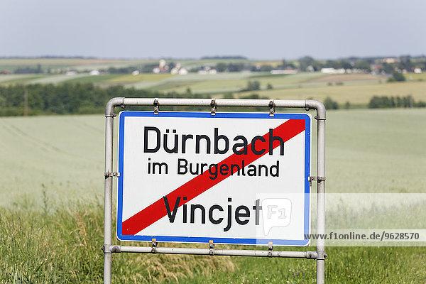 Austria  Burgenland  bilingual place name sign