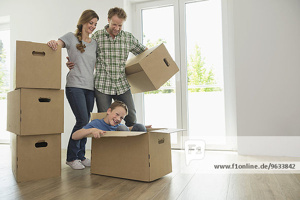 Boxes room young family fun together
