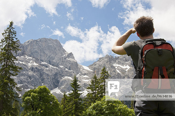 Mountain scenery  Man hiking with backpack  rear view
