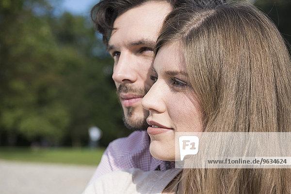Profile portrait young attractive couple