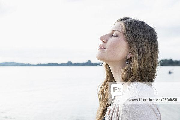 Side profile portrait young woman