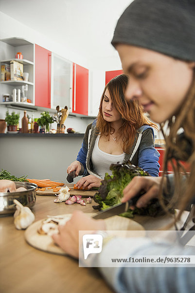 Young couple cutting vegetables in the kitchen