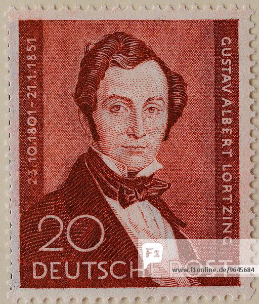Albert Lortzing  deutscher Komponist  Schauspieler und Sänger  Porträt  deutsche Briefmarke 1951