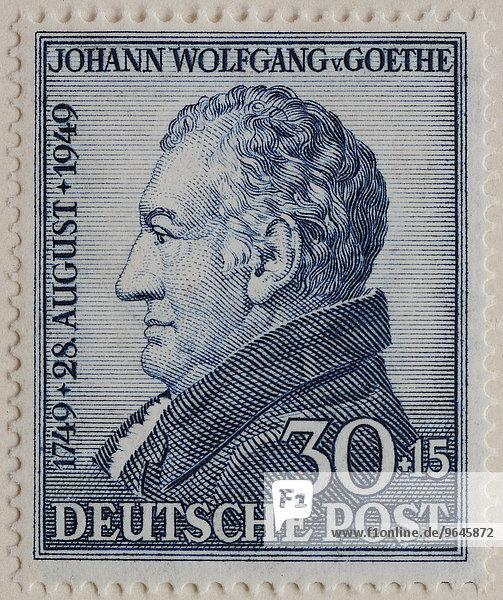 Johann Wolfgang von Goethe  deutscher Schriftsteller und Staatsmann  Porträt  deutsche Briefmarke 1949