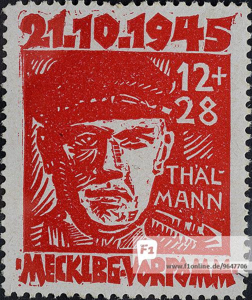 Ernst Thälmann  Parteivorsitzender der Kommunistischen Partei Deutschland  KPD  Weimarer Republik  Porträt  Briefmarke  Mecklenburg-Vorpommern 1945