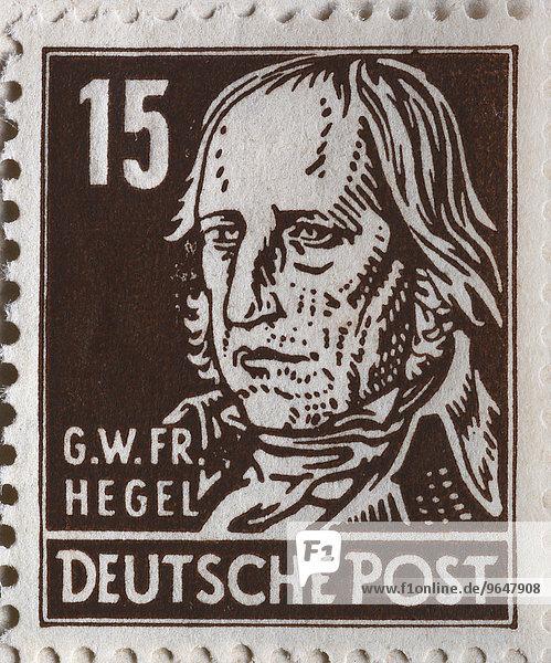 Georg Wilhelm Friedrich Hegel  deutscher Philosoph  Portrait auf einer Briefmarke  DDR  1948