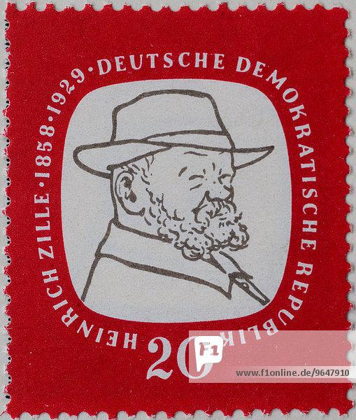 Heinrich Zille  deutscher Zeichner und Fotograf  Porträt  Briefmarke  DDR  1958