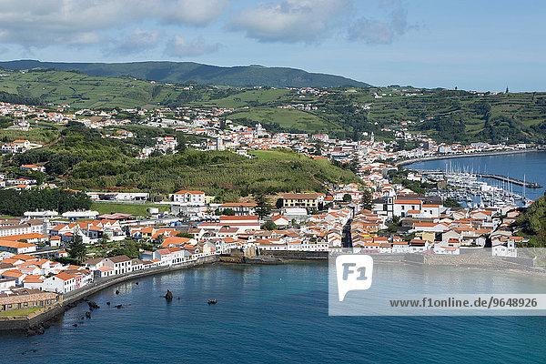 Ortsansicht vom Berg Guia  Horta  Porto Pim  Faial  Azoren  Portugal  Europa