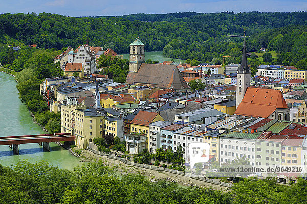 Stadtansicht  Wasserburg am Inn  Inn  Bayern  Deutschland  Europa