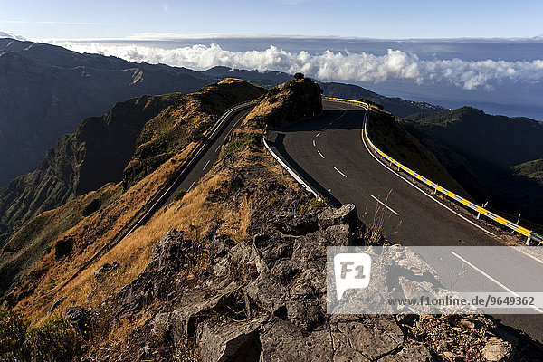 Road bend in the mountains in the center of Madeira  Portugal  Europe