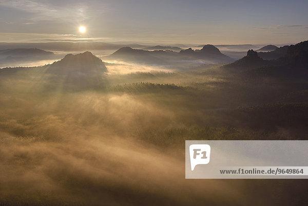 Ausblick vom Kleinen Winterberg zum Sonnenaufgang  Elbsandsteingebirge  Sächsische Schweiz  Sachsen  Deutschland  Europa