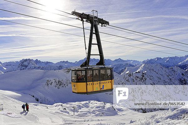 Kabine der Nebelhornbahn  Nebelhorn  Oberstdorf  Allgäuer Alpen  Oberallgäu  Bayern  Deutschland  Europa