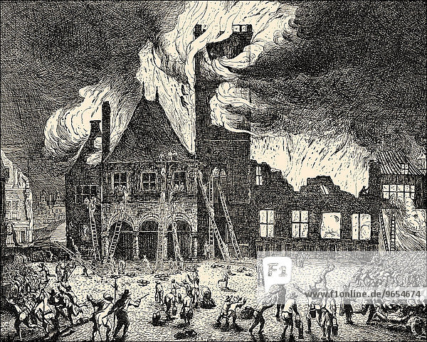 The Great Fire of the Town Hall  1652  Amsterdam  The Netherlands  historical illustration  Europe
