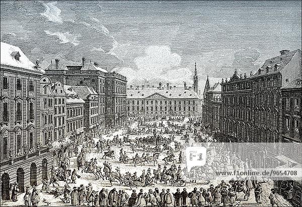 Imperial sleigh ride  Neuer Markt or Mehlmarkt  historic cityscape  18th century  Vienna  Austria  Europe