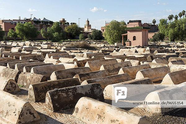 Jüdischer Friedhof in der Mellah  Judenviertel  jüdisches Viertel  Marrakesch  Marokko  Afrika