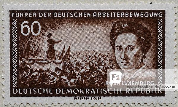 Rosa Luxemburg  Portrait auf einer Briefmarke  DDR  1955