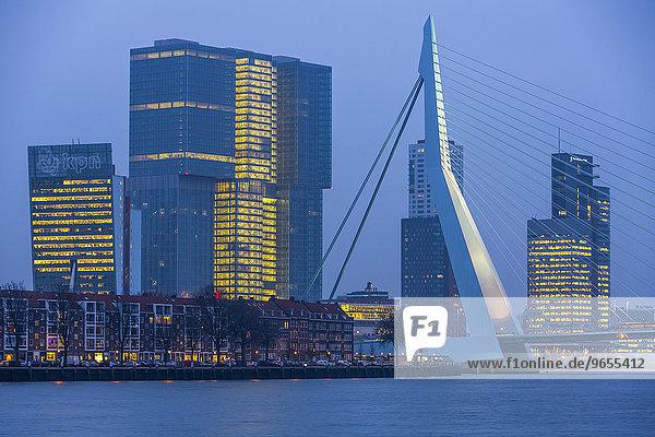 Skyline an der Nieuwe Maas  Erasmus-Brücke und Hochhäuser am Stadtteil Kop van Zuid  Rotterdam  Holland  Niederlande  Europa