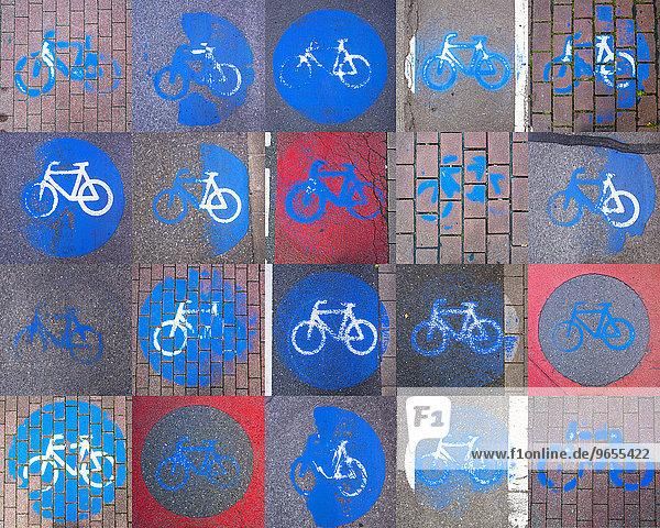 Collage von Radweg-Markierungen auf Straßenbelag  teils schon sehr abgefahren