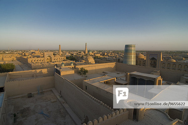View of the mosques and madrassas at Ichon Qala Fortress  Khiva  Uzbekistan  Central Asia  Asia