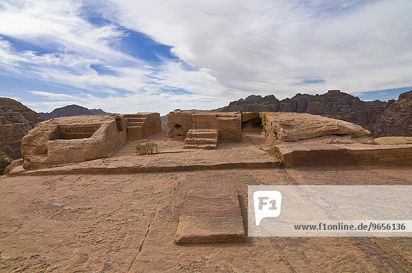 Sacrificial altar above the ruins of the city of Petra  Jordan  Middle East  Asia