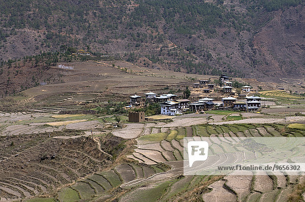 Blick über Bergterrassen am Chimi Lhakhang Tempel oder Kloster  Bhutan  Asien