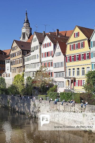 Tübinger Altstadt mit Stiftskirche am Neckar  Tübingen  Baden-Württemberg  Deutschland  Europa