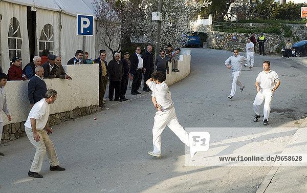 Men playing Pelota  a Valencian ball game  Altea  Costa Blanca  Spain  Europe