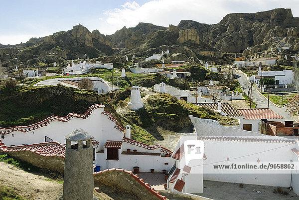 Cave buildings in Guadix  Granada province  Andalusia  Spain  Europe