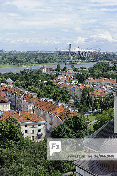 Ausblick vom Schlossplatz auf Stadion Narodowy  Warschau  Woiwodschaft Masowien  Polen  Europa
