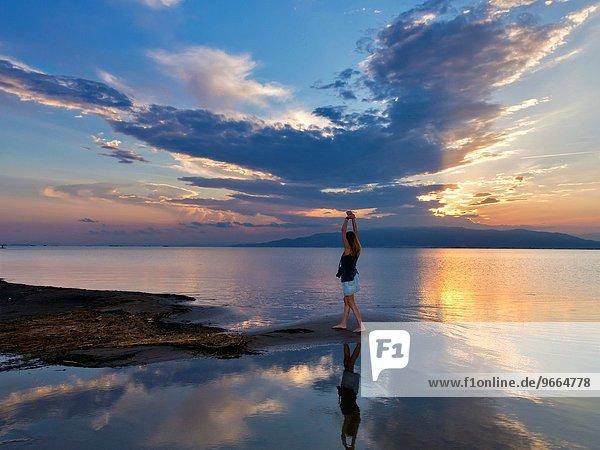Landschaft Sonnenuntergang Fluss Flussdelta Delta Katalonien Spanien Tarragona Provinz