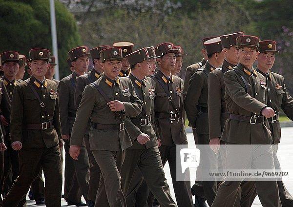 Soldiers Walking In The Street  Pyongyang  North Korea