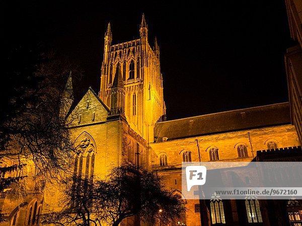Kirche Kathedrale Heiligtum Regenwald Christ Jungfrau Maria Madonna Worcester bei Nacht