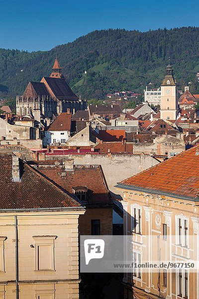 Romania  Transylvania  Brasov  elevated city view with Black Church and Town Hall tower  morning.