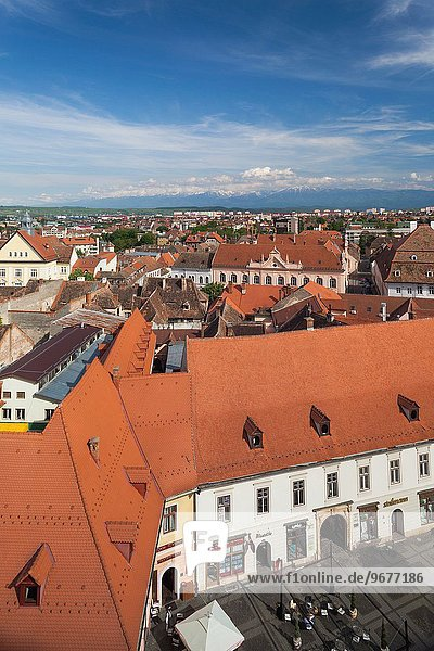 Romania  Transylvania  Sibiu  elevated town view from Council Tower.