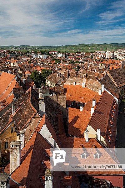 Stadt Ansicht Erhöhte Ansicht Aufsicht heben Rumänien Sibiu Hermannstadt