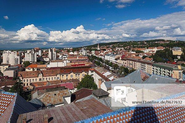 Romania  Transylvania  Targu Mures  elevated city view towards Piata Trandafililor Square  daytime.